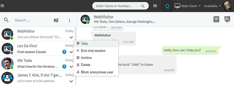 Chat functionality with 3CX Live Chat & Talk plugin in Web Client.