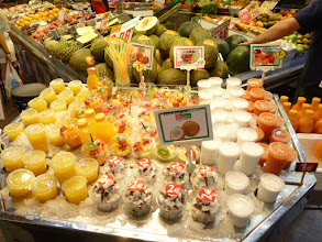 Photo: fruit juices; our favorite is coconut. 1 euro.