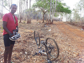Photo: Vivek Anandan taking a breather after the chain was untangled!