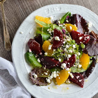 Beet Salad with Goat Cheese and Orange Vinaigrette Dressing.
