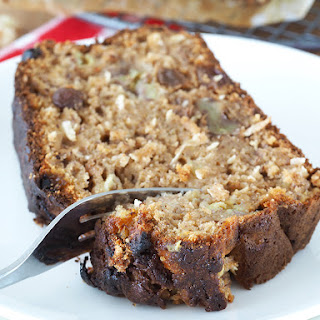 Banana Bread with Rum Soaked Raisins.