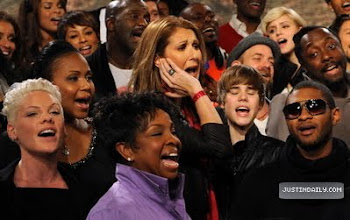 """Photo: HOLLYWOOD - FEBRUARY 01:  Singers Pink, Gladys Knight, Celine Dion, Justin Bieber, Usher, will.i.am, Katharine McPhee and others at the """"We Are The World 25 Years for Haiti"""" recording session held at Jim Henson Studios on February 1, 2010 in Hollywood, California.  (Photo by Kevin Mazur/WireImage)"""