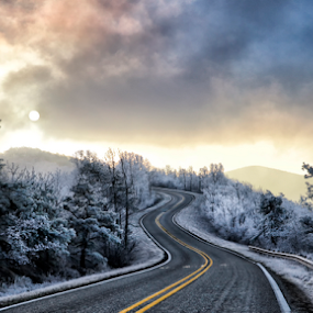 Winter Sunrise  by William Rainey  - Transportation Roads ( clouds, winter, byway, cold, blue, ice, ouachita, pink, sunrise, road, arkansas,  )