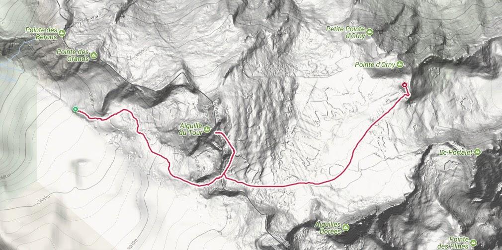 Route naar refuge Trient