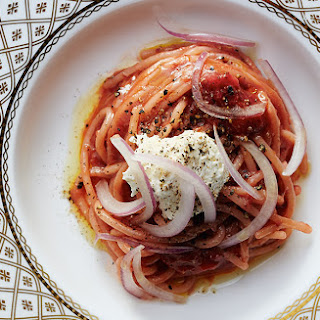 Spaghetti with Strawberry-Tomato Sauce.