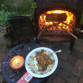 Dinner by the Pot Belly  by Dawn Simpson - Food & Drink Plated Food ( candlelight, relaxing, fire, winter, dinner, pot belly,  )
