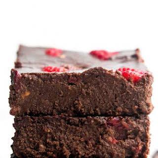 Healthy Small Batch Fudgy Dark Chocolate Raspberry Brownies.