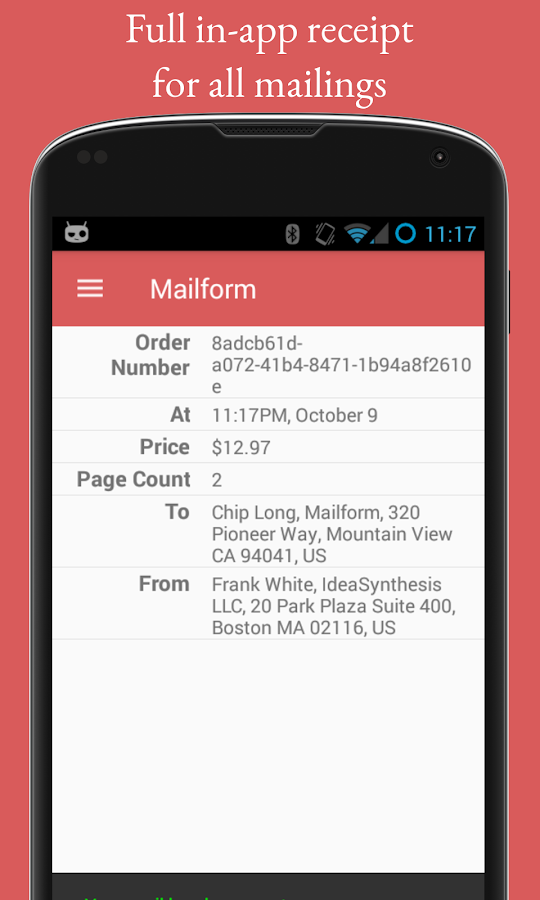 Mailform- screenshot