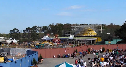 Photo: The tent for Dumbo is looking mighty yellow. But they are making progress on it and the queue for the ride.