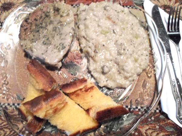 Pork Chops W/mushroom Gravy & Rice (for Two) Recipe