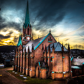 Church by Geir Blom - Buildings & Architecture Places of Worship ( bricks, sky, church, sunset, yellow, clock, drammen, building )
