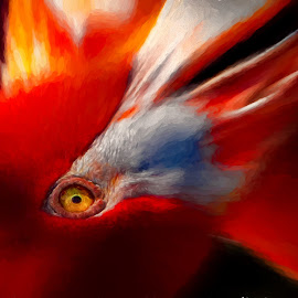 Flymingo by Dave Walters - Digital Art Animals ( flymingo, nature, zoo, animals, birds, topaz studio, colors, digital art )