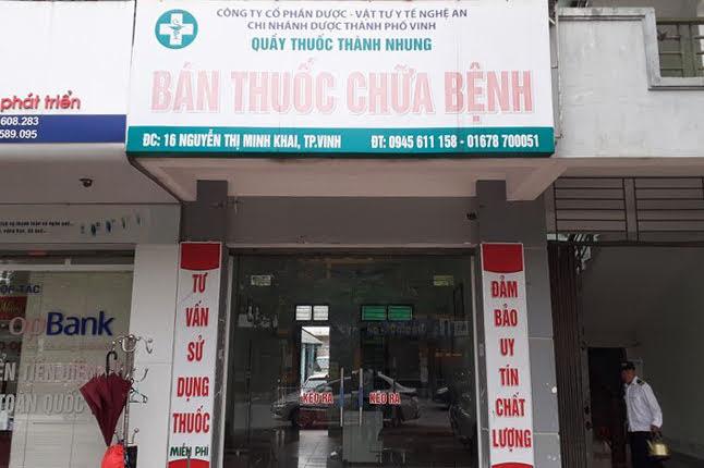 Chi nhánh Dược phẩm TP Vinh vừa bị phạt tiền, rút giấy phép hoạt động