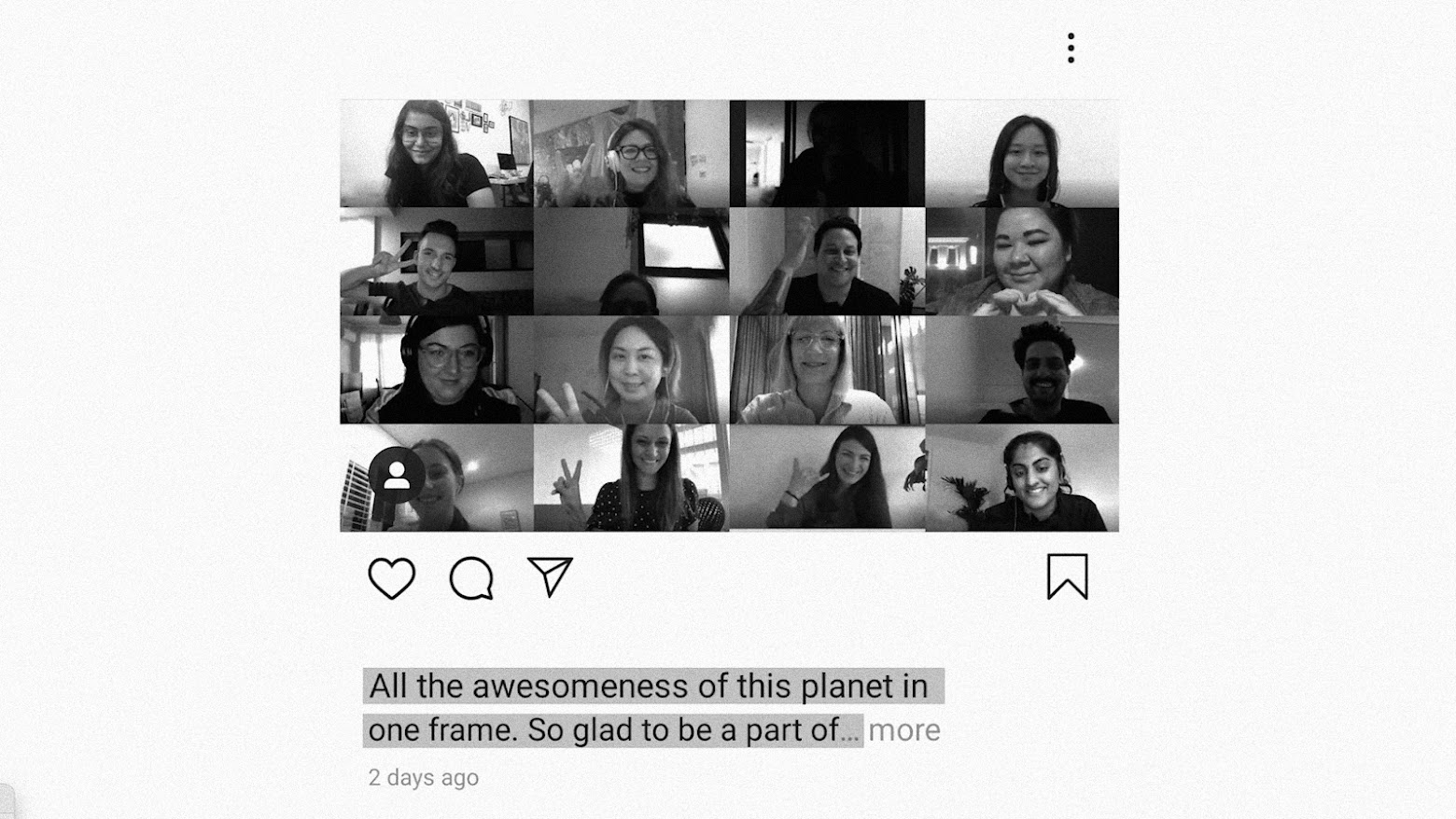 Instagram post of a screenshot of participants during online session