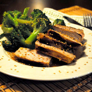 Garlic and Oyster Sauce Broccoli and Pork Chops.