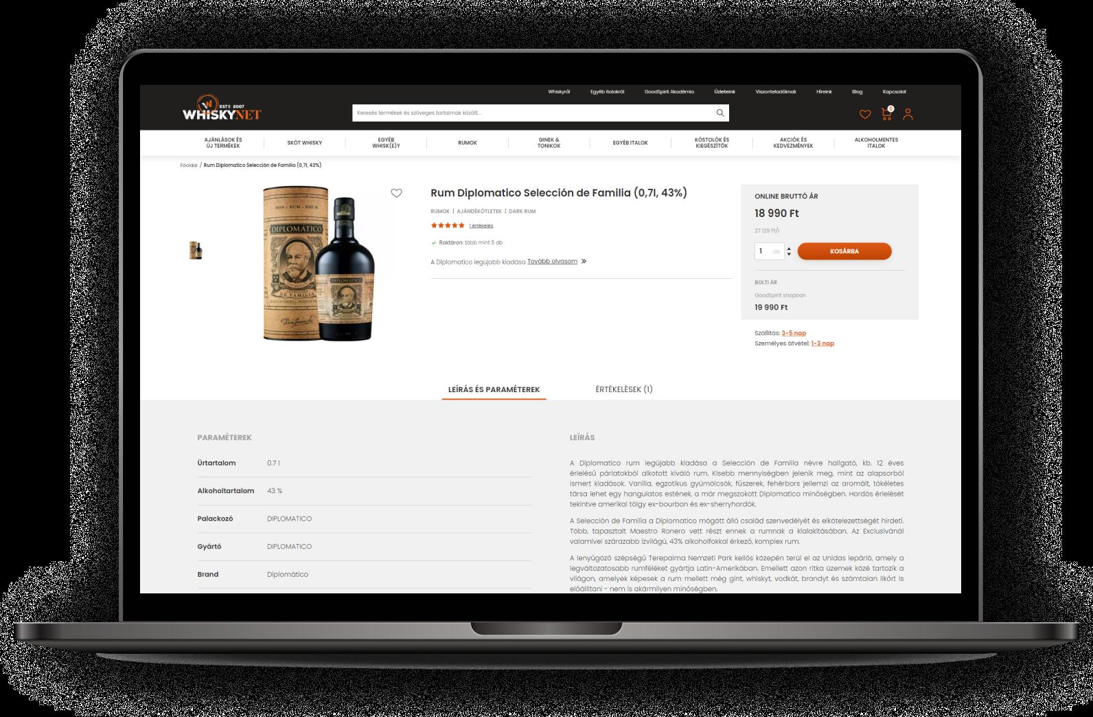 Webshop készítés Logishop alapokon: elindult a WhiskyNet új webáruháza