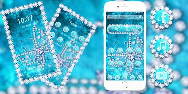 Crystal Blue Butterfly Diamonds Theme - náhled