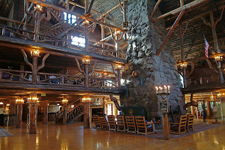 Photo: The interior of Old Faithful Inn - Yellowstone National Park, Wy