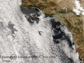Photo: stratus clouds off the southern California coast- clouds vary in thickness (opacity)