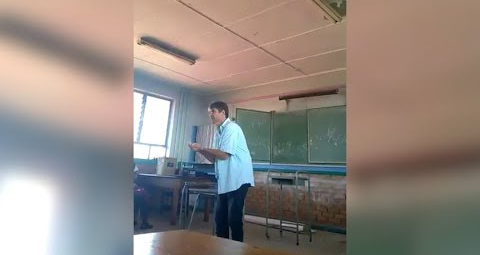 A teacher at Hoërskool Die Burger in Randburg, Gauteng, was caught on camera, scolding his pupils. This is a screen shot of the video that went viral after it was uploaded to Twitter on January 21 2018. Image: Supplied