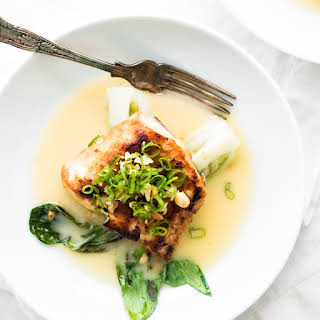 Miso Glazed Halibut with Baby Bok Choy and a Sake Butter Sauce.