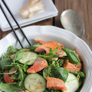 Thai Ginger Salmon Basil Arugula Salad Recipe
