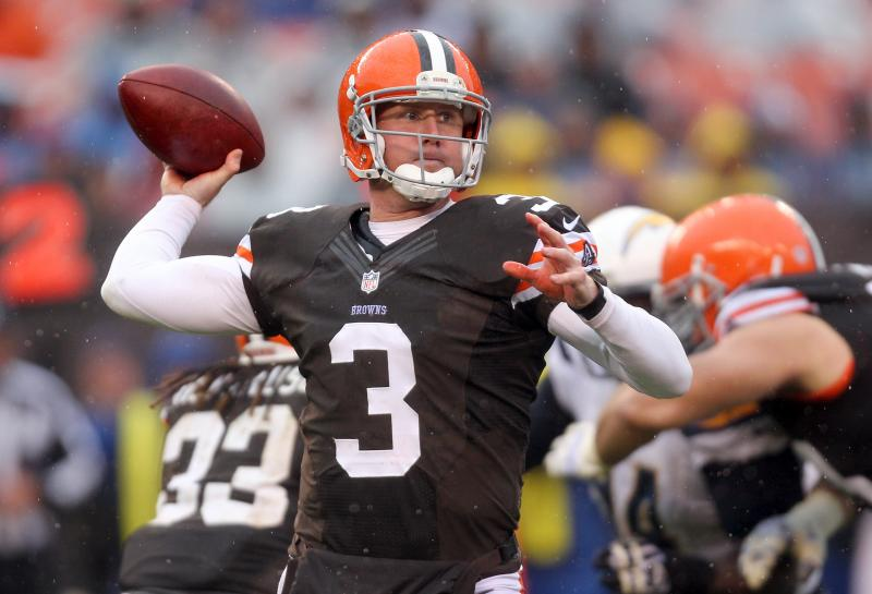 Photo: Brandon Weeden throws against the Chargers. (Joshua Gunter, The Plain Dealer)
