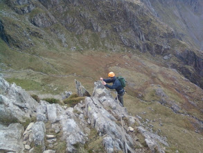 Photo: Finishing the Cneifion Arete (Grade 3)