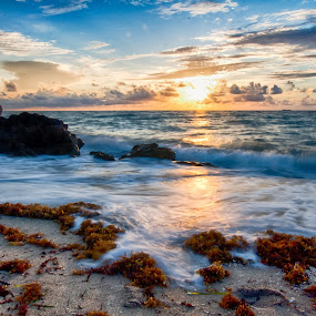 Good morning! by Tim Azar - Landscapes Beaches ( water, clouds, sand, deerfield beach, boulders, hdr, tim azar, ocean, beach, sunlight, landscape, fence, sky, rope, blue, sunset, florida, shoreline, brown, sunrise, rocks, south florida )