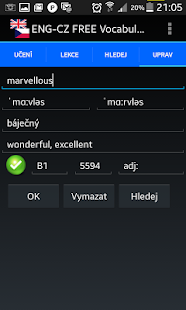 Jiki English Czech Vocabulary Screenshot 5
