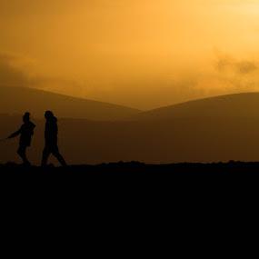 Walking Home by Daniela Maskova - People Couples ( people sunset walk )
