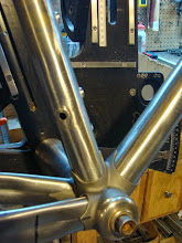 Photo: Seat tube Di2 port and waterbottle bosses.