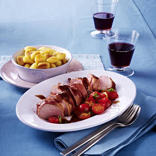 Pork Tenderloin with Gnocchi and Sautéed Tomatoes.