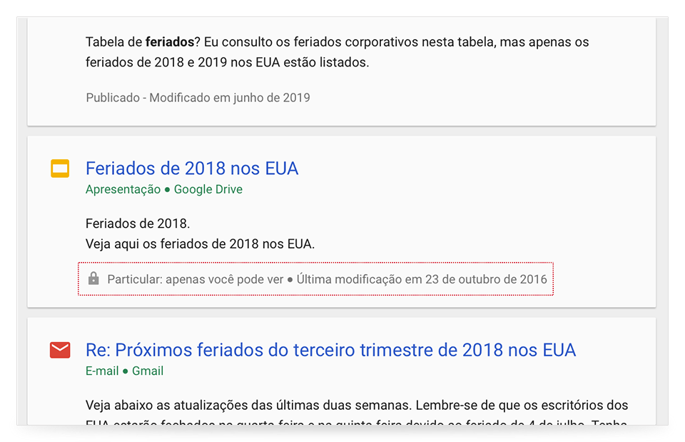 Cards de assistência do Cloud Search