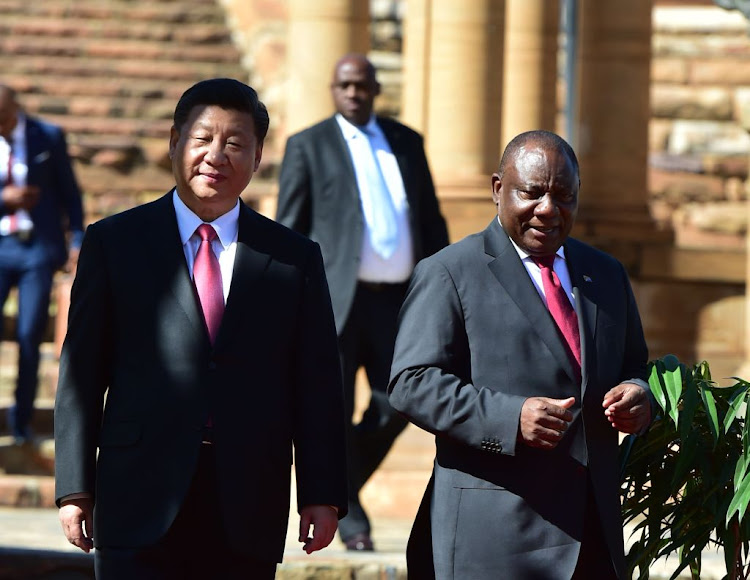 South Africa's President Cyril Ramaphosa and China's President Xi Jinping at the Union Buildings in Pretoria on July 24, 2018.