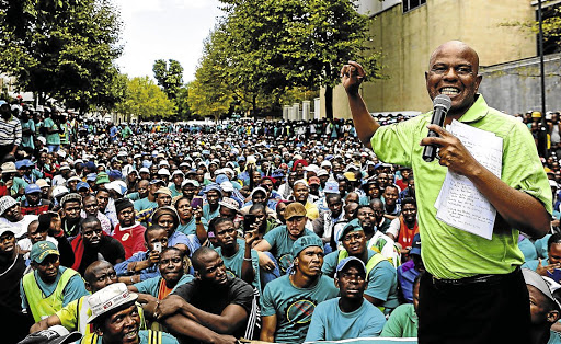 Mine slump: The Association of Mineworkers and Construction Union, led by Joseph Mathunjwa has lost 6,500 members in the past year. Picture: THE TIMES