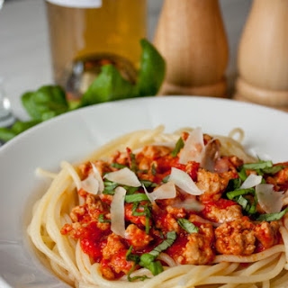 Spaghetti With Pepper Meat Sauce.