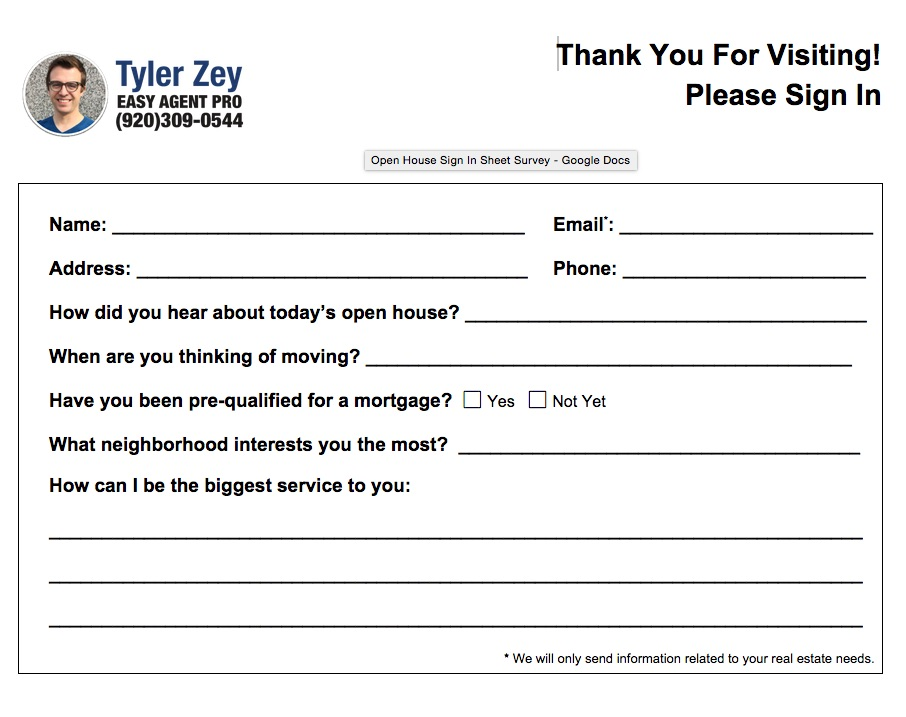 broker open house feedback form Open House Sign In Sheet Printable Templates (Free