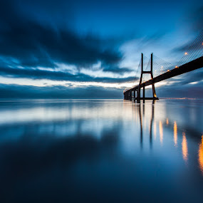 blue mornings by Pedro Carmona Santos - Landscapes Waterscapes ( bridge )