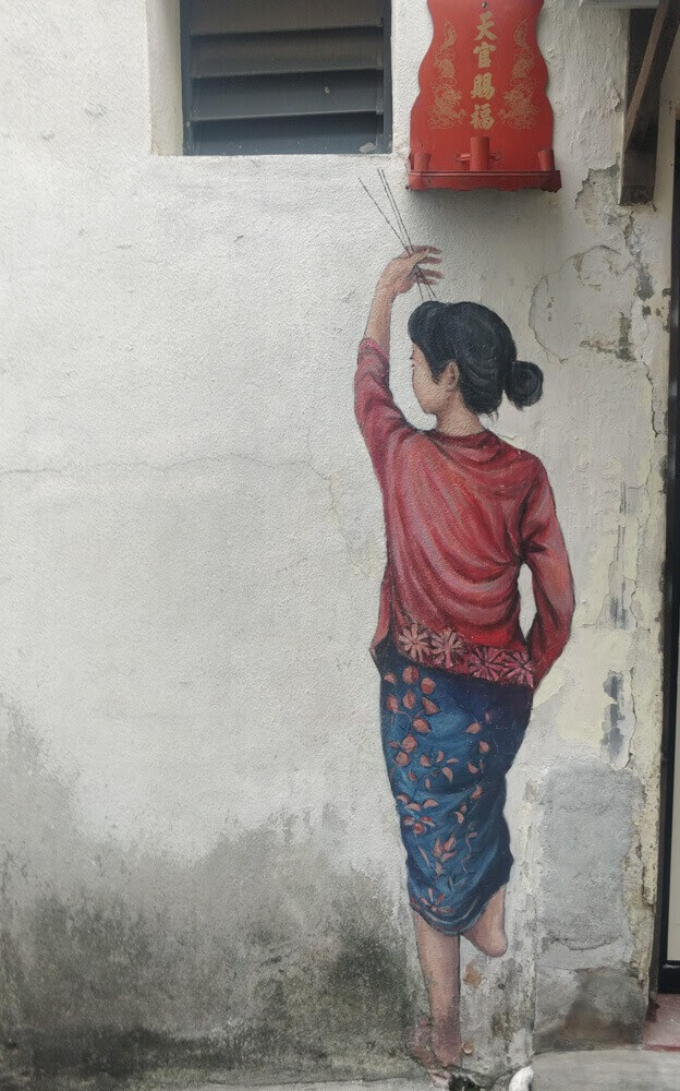 woman+reaching+up mural street art penang malaysia