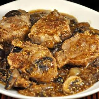 Sliced Pork Tenderloin with Mushrooms and Mustard.