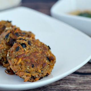 Sweet Potato, Black Bean & Quinoa Fritters with Sweet & Sour Cashew Spread.