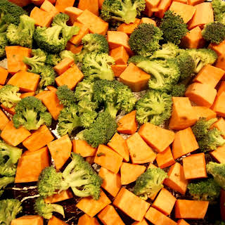 Roasted Broccoli & Sweet Potatoes in Coconut Oil.