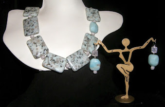 Photo: <BEREHYNYA> {Great Goddess Protectress} unique one-of-a-kind statement jewellery by Luba Bilash ART & ADORNMENT  #110 - GENTLE KISS ~ НІЖНИЙ ПОЦІЛУНОК - moss agate; quartzite; silver-plate; SS $130/set SOLD