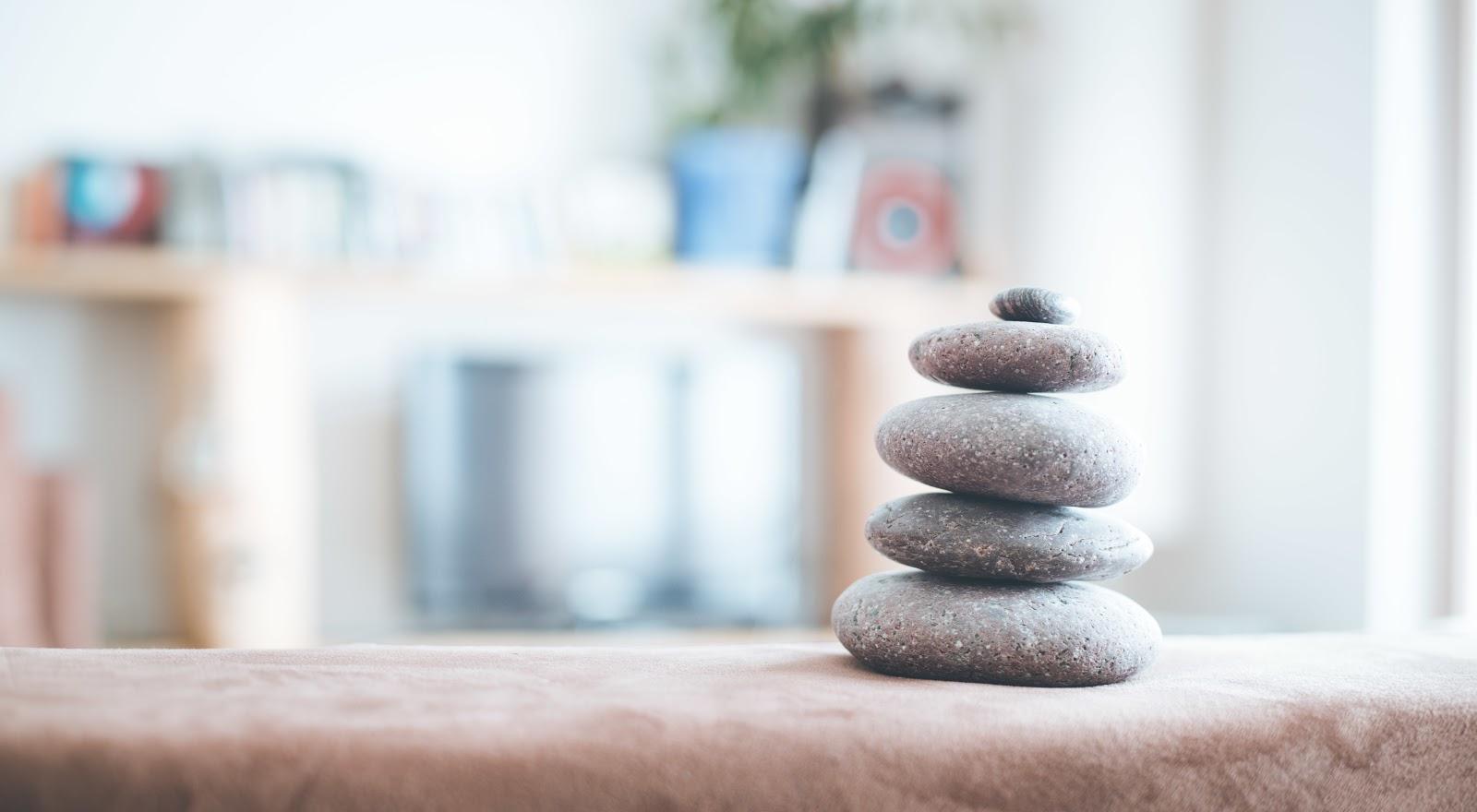 A zen setup of rocks displaying balance