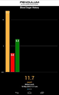 Pendulum Blood Sugar Monitor Screenshot