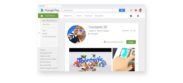 image_alt_text: Section dédiée aux familles sur le Google PlayStore