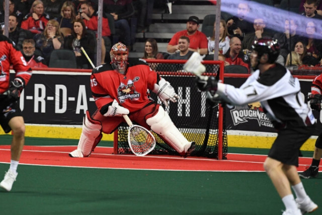 Image of goalie making a lateral step and squaring up to shooter