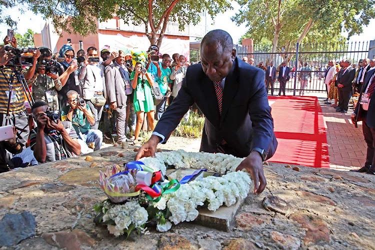 Before Covid-19: On a previous Human Rights Day, President Cyril Ramaphosa laid a wreath in Sharpeville in honour of the fallen heroes killed while protesting against the apartheid government's pass laws. This year he did a virtual address.