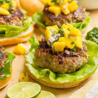 Spicy Pork Burgers With Mango Salsa.